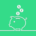 Money piggy bank in line on blue background. Vector Royalty Free Stock Photo