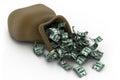 Money pile dollar bills d illustration of Stock Photos