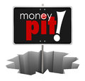 Money Pit Sign in Hole Wasteful Spending Bad Investment Royalty Free Stock Photo