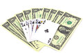 Money and playing cards dollars on white background Stock Photos