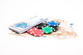 Money with poker chips Royalty Free Stock Photo