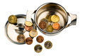 Money pot a saucepan with a few euro coins photo icon on debt and financial crisis Royalty Free Stock Photos