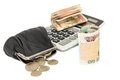 Money, purse and calculator on a white background Royalty Free Stock Photo