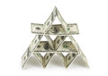 Money pyramid on white background Stock Photos