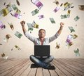 Money rain concept of success a businessman with Royalty Free Stock Images