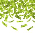 Money rain. Falling dollars banknotes, finances luck currency rain, flying cash. Jackpot win, income growth and wealth Royalty Free Stock Photo