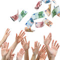 Money rain hands reaching for euro flying in the air Stock Photo