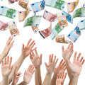 Money rain hands reaching for euro flying in the air Stock Images