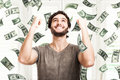 Money rain portrait of a very happy young man in a of Royalty Free Stock Photos