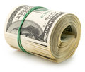 Money roll dollars isolated on the white background Royalty Free Stock Photo