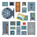 Money safe steel vault door finance business concept safety business box cash secure protection deposit vector