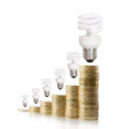 Money saved in different kinds of light bulbs a Royalty Free Stock Photo