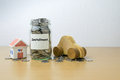 Money saving for installment in the glass bottle Royalty Free Stock Photography