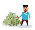 Money Searching Concept Vector in Flat Design Royalty Free Stock Photo