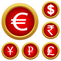 Money set buttons of of different currencies vector illustration Royalty Free Stock Images