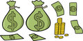 Money Set Vector Illustration Stock Images