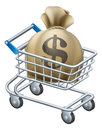 Money shopping cart trolley of a or with a large sack of in it Stock Image