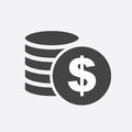 Money silhouette icon on white background. Coins vector illustration in flat style. Icons for design, website.