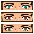 Money, social network icon - follow and sale signs in female eyes. Comic pop-art illustration with girl interests in her eye.