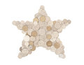 Money star in australian coins shape formed with and all are facing upright on white Royalty Free Stock Photography