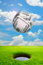 Money success sphere shoot in golf hole make score business concept Royalty Free Stock Photo
