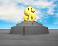 Money symbol on top of concrete structure with blue sky background Stock Image