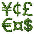 Money symbols: yen, cent, pound, euro, dollar, currency, made from green leaves isolated on white background. 3d render. Royalty Free Stock Photo