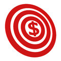 Money target red with red dollar sign isolated on white Royalty Free Stock Images
