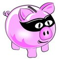 Money theft pig Stock Photo