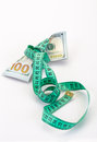 Money tied with measurement tape green on white Stock Photos