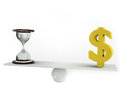 Money or time on balance board Royalty Free Stock Photography