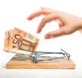 Money trap - euro bait Royalty Free Stock Photo