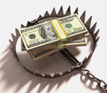 Money trap stack of us dollars into a clipping path included Royalty Free Stock Images