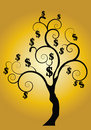 Money tree with gold background Stock Photos