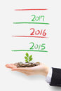 Money tree grow up in new year green plant sprouting from hand with concept for business and Royalty Free Stock Photography