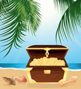 Money trunk on the beach Royalty Free Stock Image