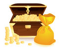 Money trunk and moneybag Royalty Free Stock Photos