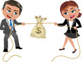 Money tug of war concept competition illustration featuring cartoon business woman meg and business man bob competing in a for a Royalty Free Stock Photography