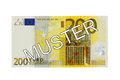 Money two hundred euro bill front with german lettering muster specimen banknote Stock Photo