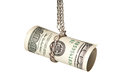 Money u s dollars chained with silver chain on black background studio shot Stock Photography