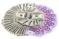 Money usa and europe different types of dollars euro Stock Photography