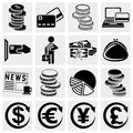 Money vector icons set isolated on grey background eps file available Stock Photography