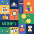 Money vector piggy bank pig box financial bank or money-box with investment savings and coins icons set backdrop Royalty Free Stock Photo