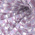 Money vortex of 500 euro notes Royalty Free Stock Photo
