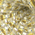 Money vortex of 200 euro notes Royalty Free Stock Photo