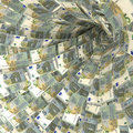 Money vortex of 5 Euro notes Royalty Free Stock Photo