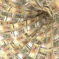 Money vortex of 50 Swedish kronor bills Royalty Free Stock Photo
