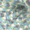 Money vortex of twenty euro bills Royalty Free Stock Photo