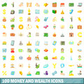 100 money and wealth icons set, cartoon style Royalty Free Stock Photo