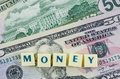 Money word on dollar background. Finance concept Royalty Free Stock Photo
